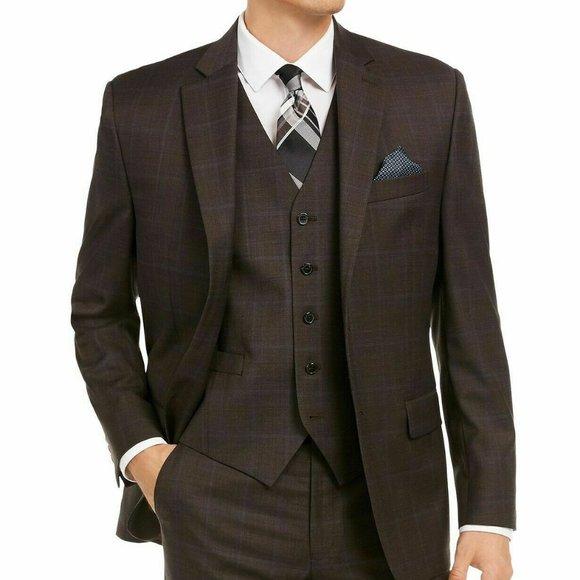 Lauren Ralph Lauren Brown Windowpane Suit Jacket
